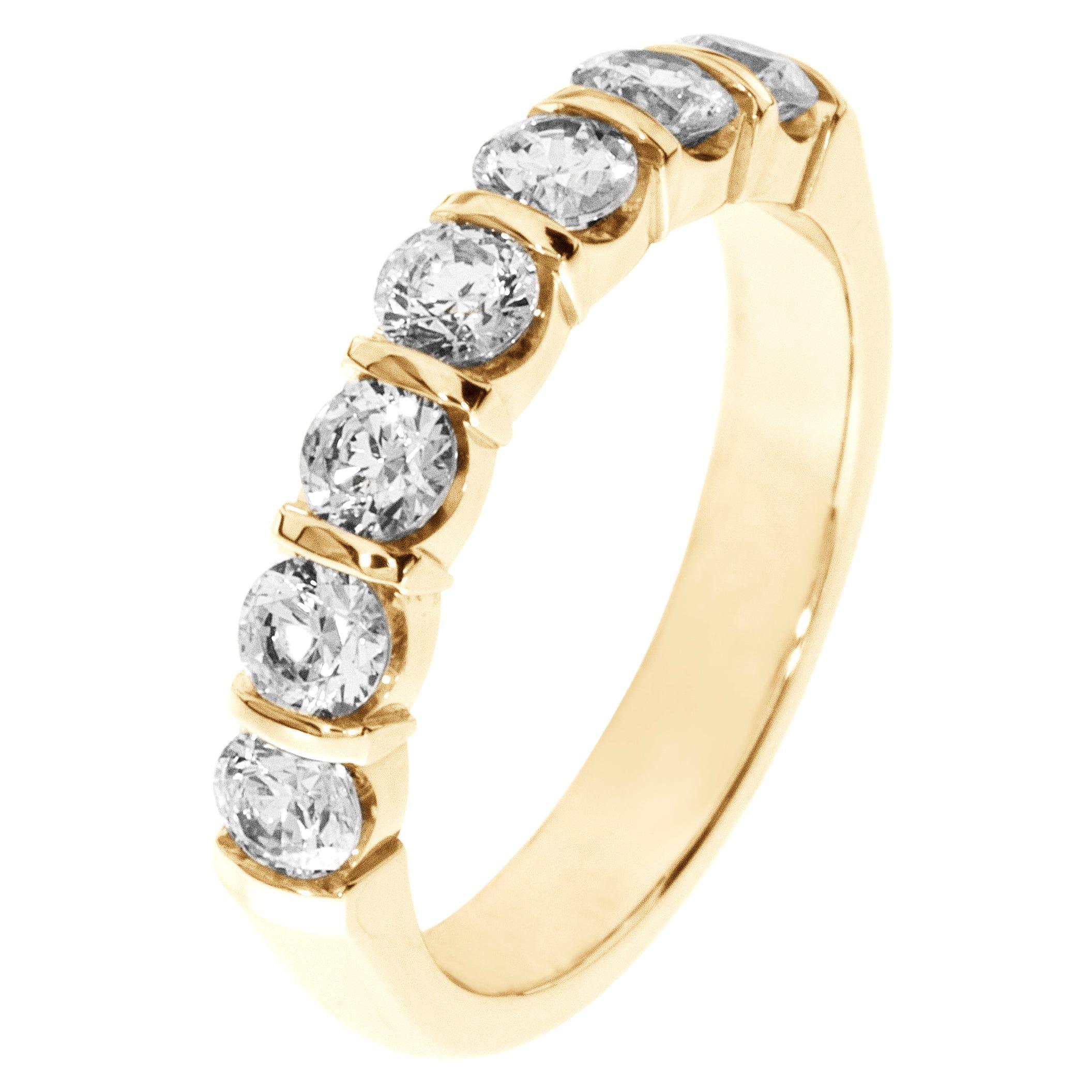 7-Stone Diamond Band 1ctw. (H-I, I1) 18K Yellow Gold