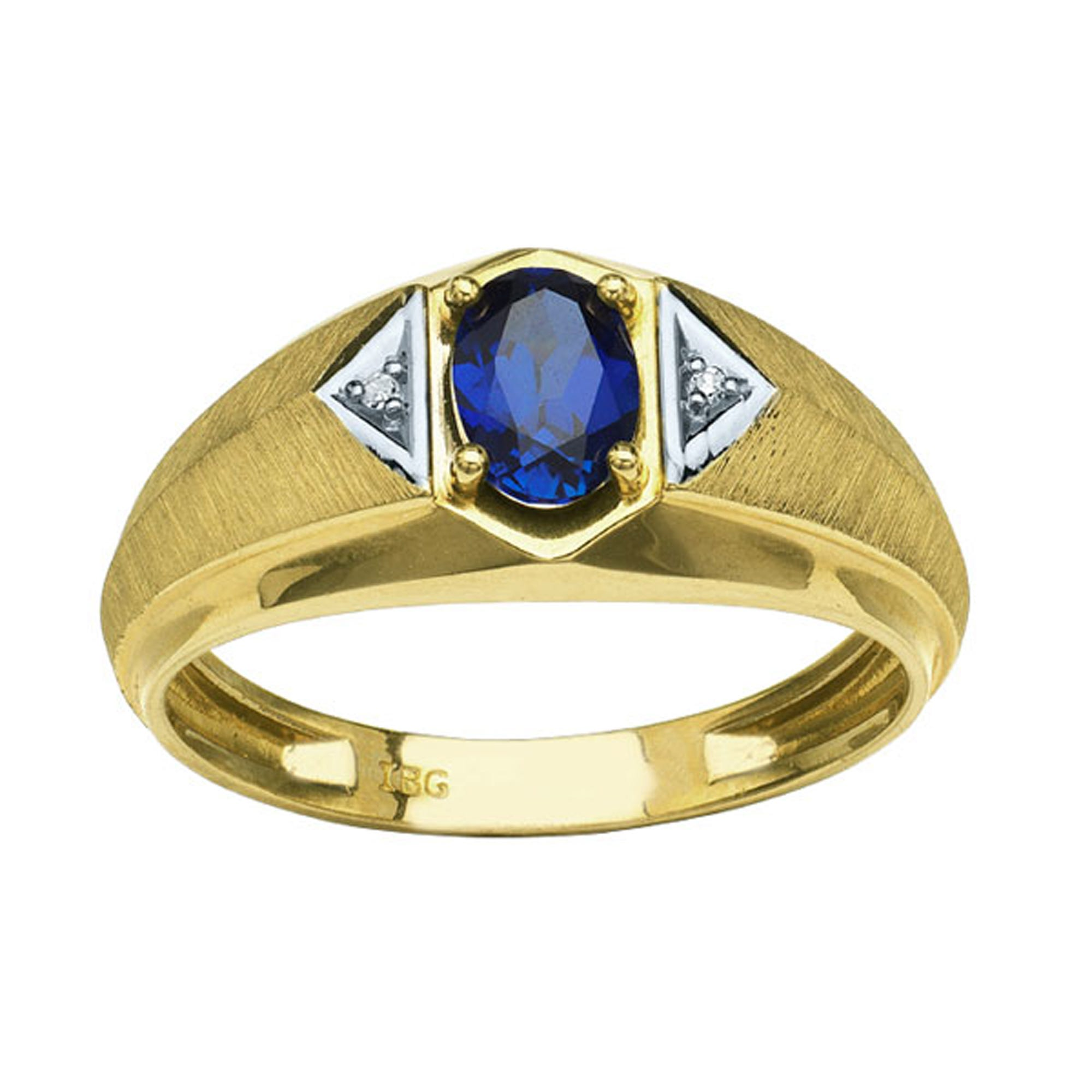 IBGoodman 10k Yellow Gold Created Oval Center Sapphire & Diamond Ring