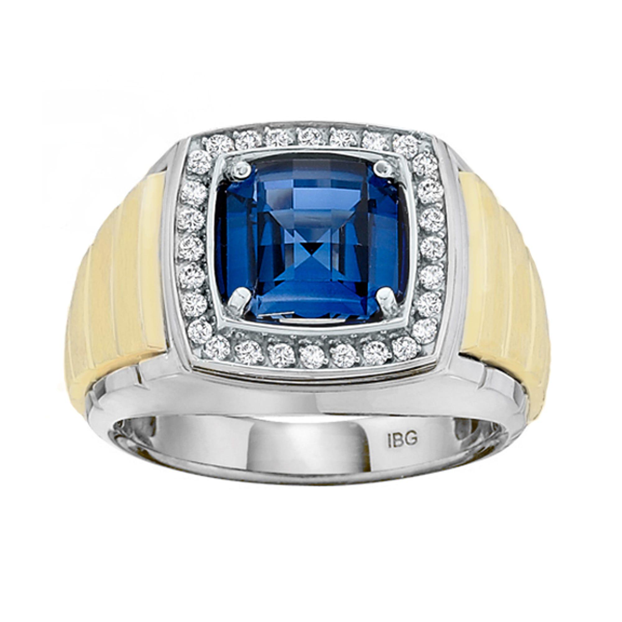 IBGoodman Men's Created Sapphire 1/4ctw. Diamond Ring Sterling Silver & Yellow Gold