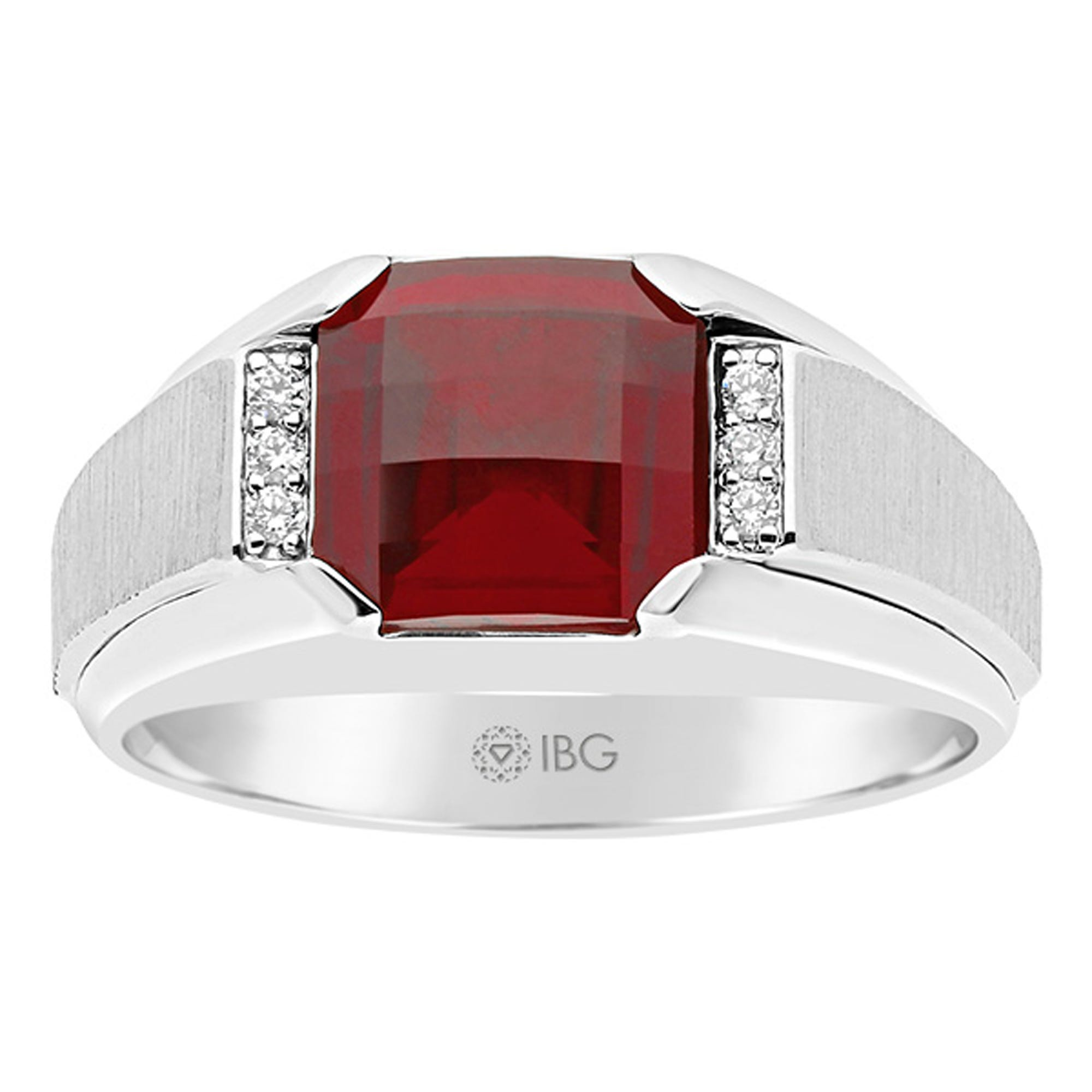 IBGoodman Men's Sterling Silver Created Garnet & Diamond Ring