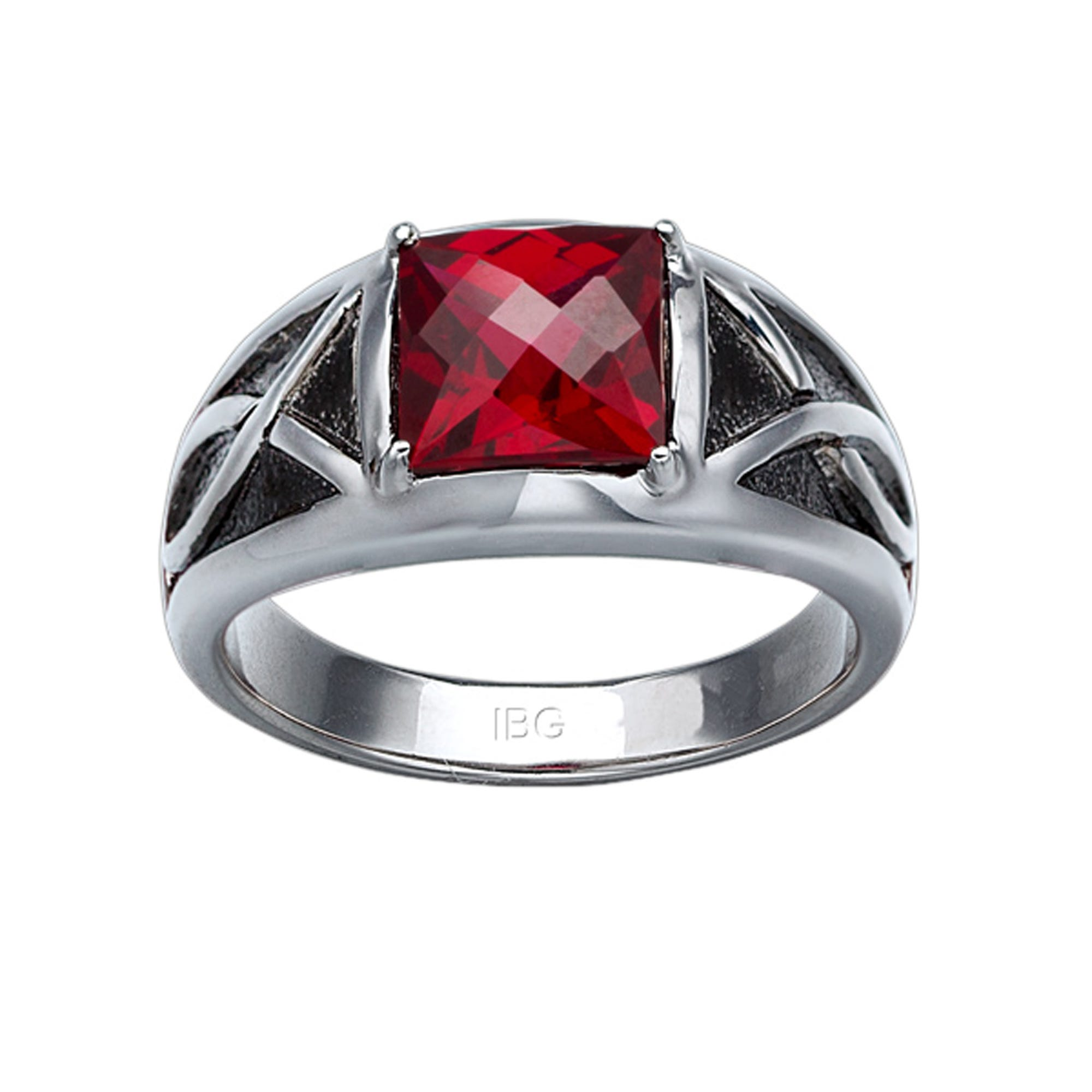 IBGoodman Men's Created Garnet Ring in Sterling Silver