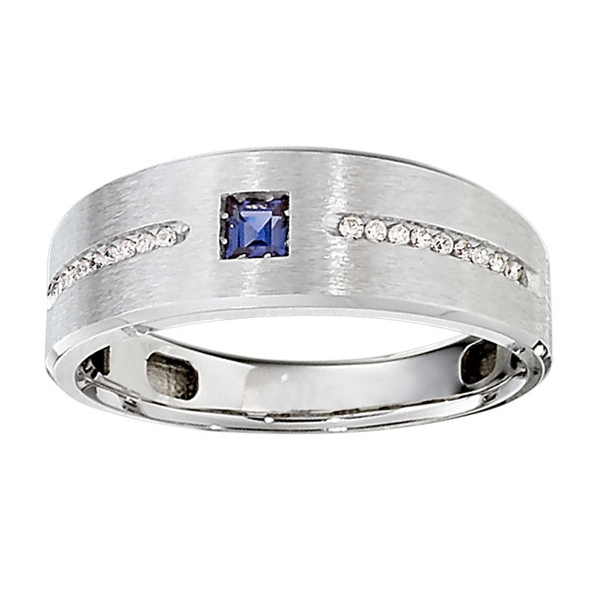 IBGoodman Men's Created Sapphire Center Channel-Set Diamond Ring in Sterling Silver