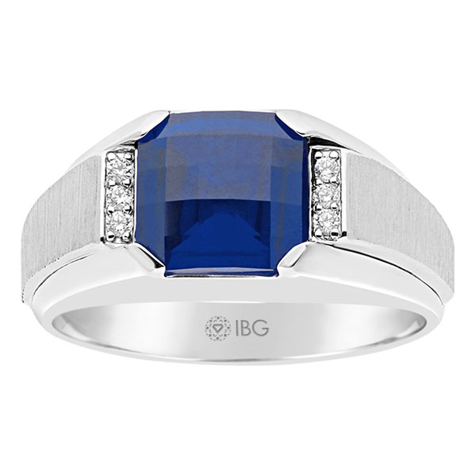 IBGoodman Men's Sterling Silver Created Sapphire & 6-Diamond Ring