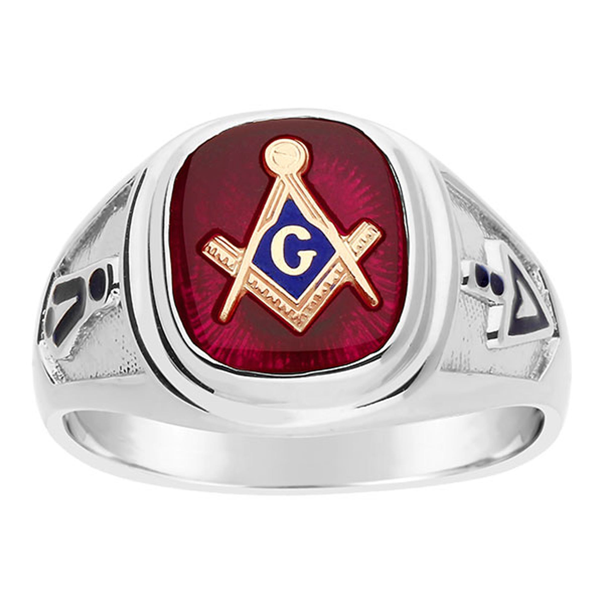 IBGoodman Men's Red Spinel Masonic Ring in Sterling Silver