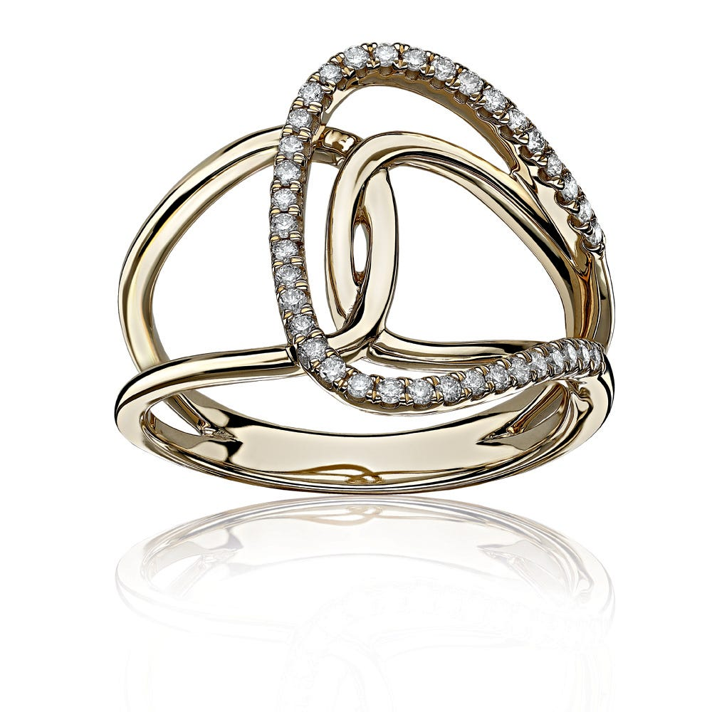 Diamond Twist Loop Fashion Ring 1/4ctw in 10k Yellow Gold