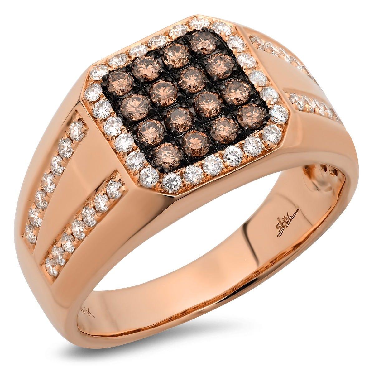 Shy Creation Men's White & Champagne Diamond Men's Ring in 14k Rose Gold SC28022907
