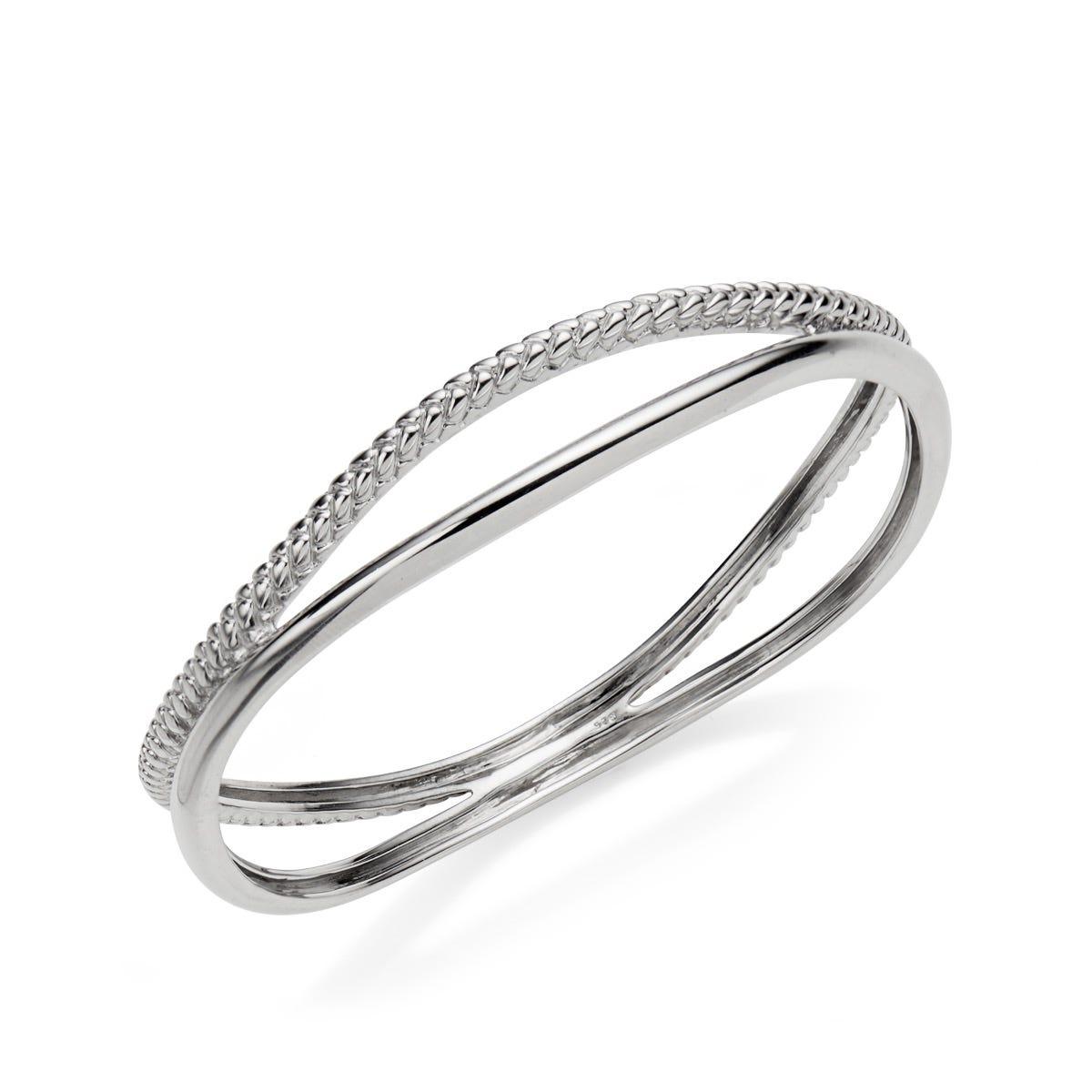 Braid Bangle Bracelet in Sterling Silver