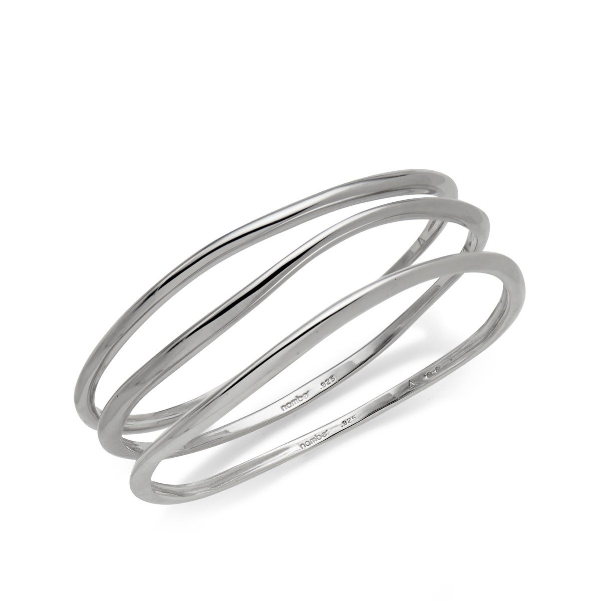 Signature Stackable Bangle Bracelets (Set of 3) in Sterling Silver