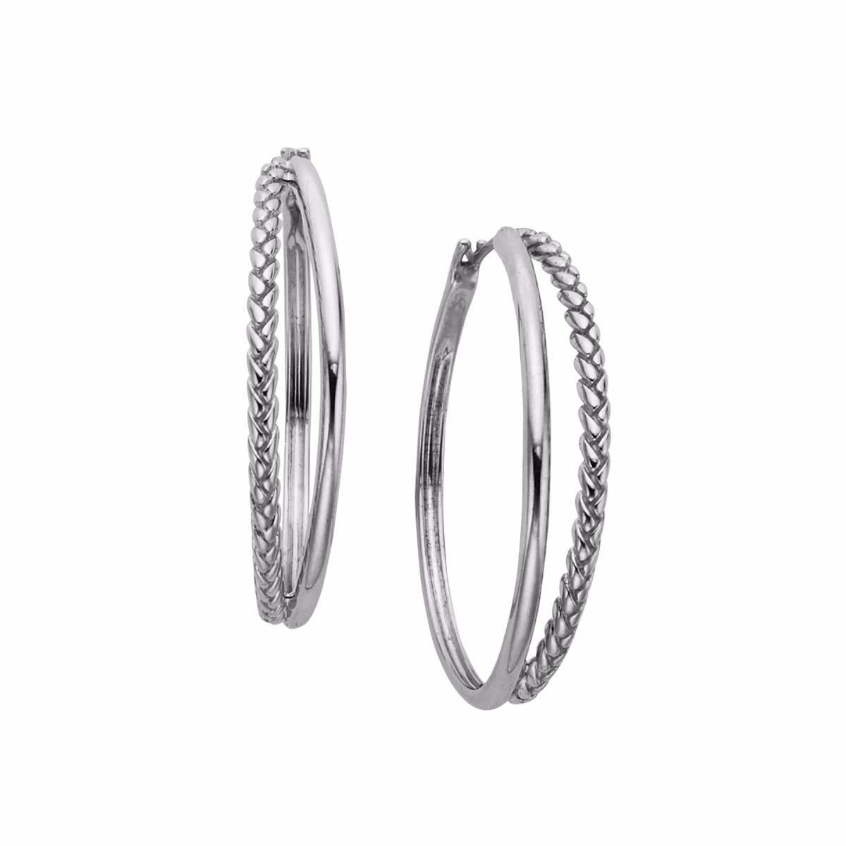Detached Braid Hoop Earrings in Sterling Silver