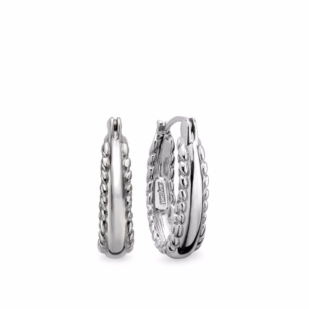 Double-Side Braid Hoop Earrings in Sterling Silver