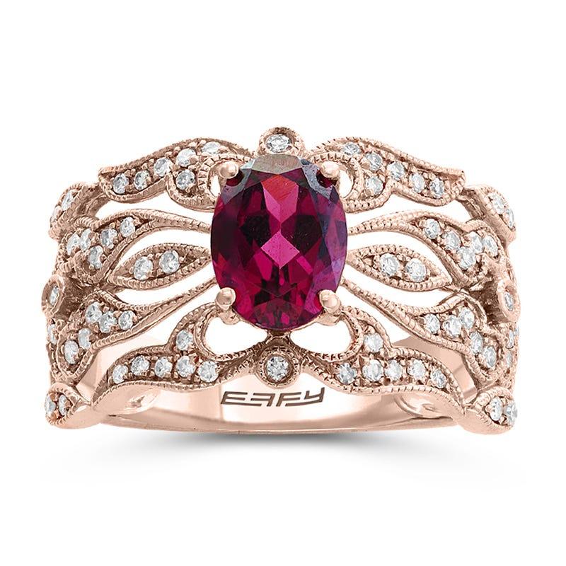 EFFY Oval Rhodolite Garnet & Diamond Ring in 14k Rose Gold
