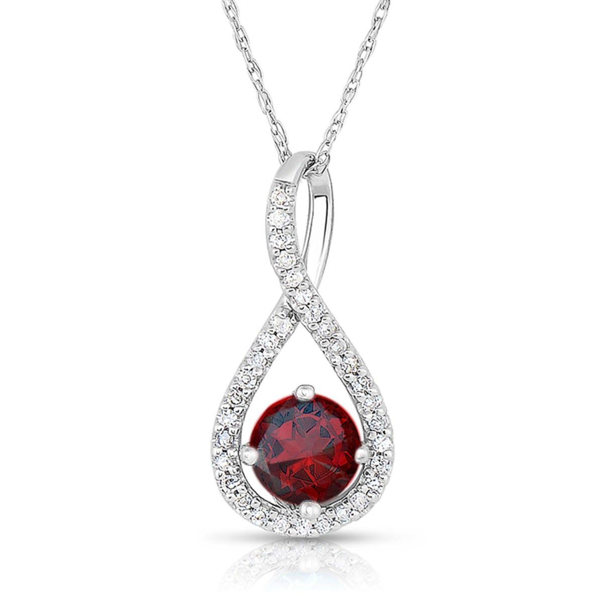 Garnet & Diamond Infinity Drop Pendant in Sterling Silver