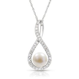 Pearl & Diamond Infinity Drop Pendant in Sterling Silver