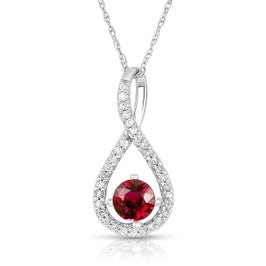Ruby & Diamond Infinity Drop Pendant in Sterling Silver
