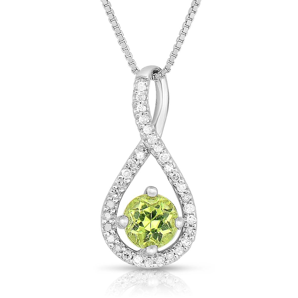 Peridot & Diamond Infinity Drop Pendant in Sterling Silver