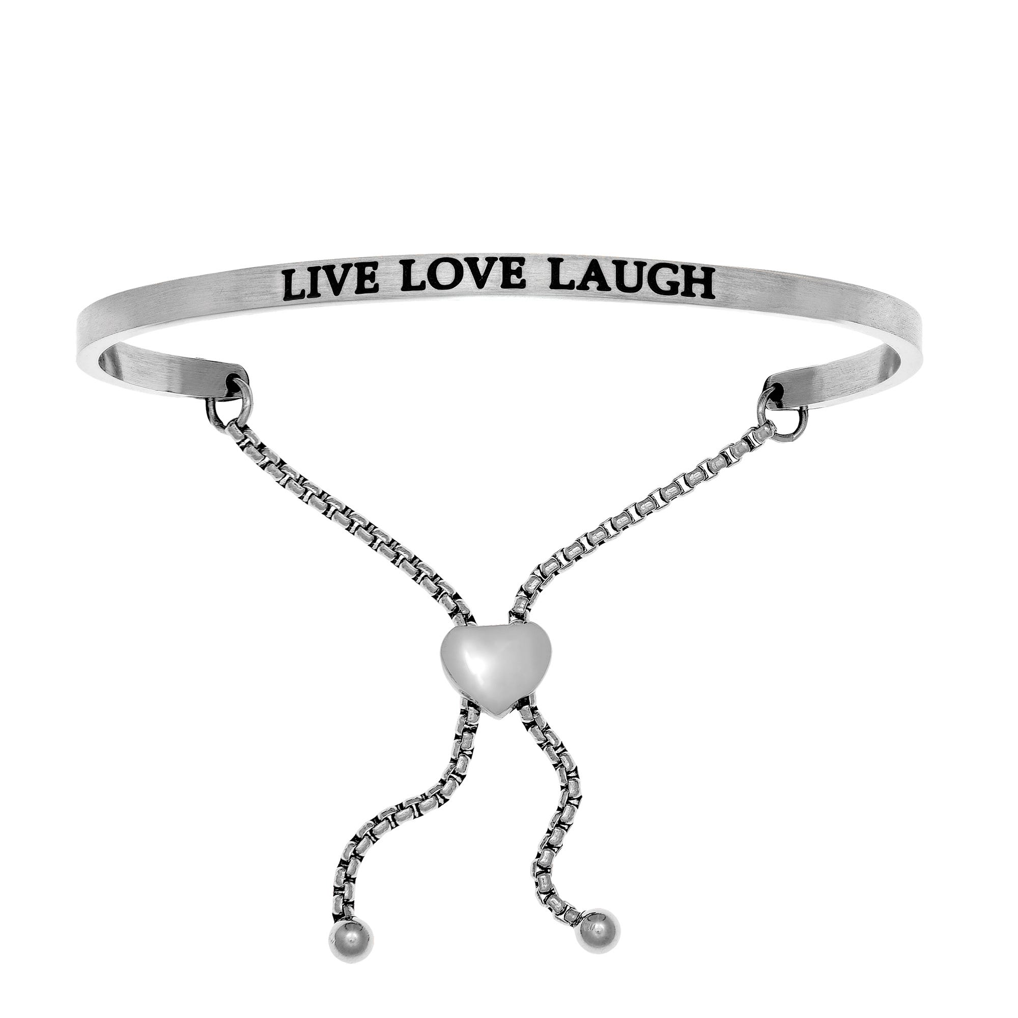Live, Laugh, Love. Intuitions Bolo Bracelet in White Stainless Steel