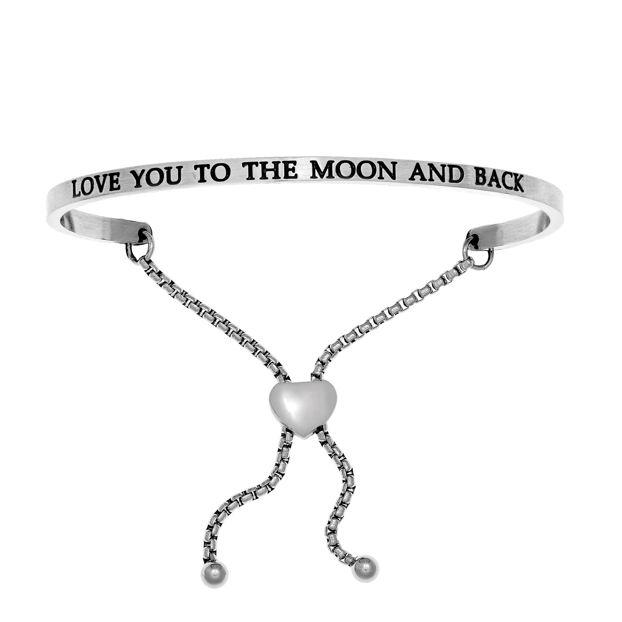 Love You To The Moon & Back. Intuitions Bolo Bracelet in White Stainless Steel