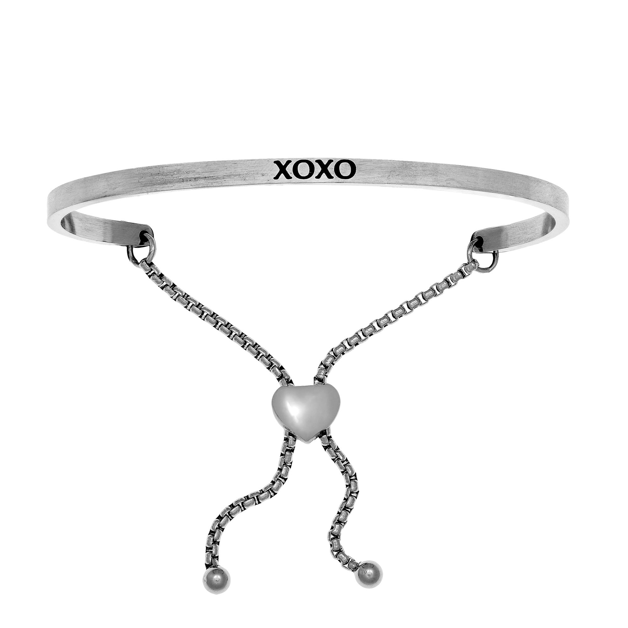 XOXO. Intuitions Bolo Bracelet in White Stainless Steel