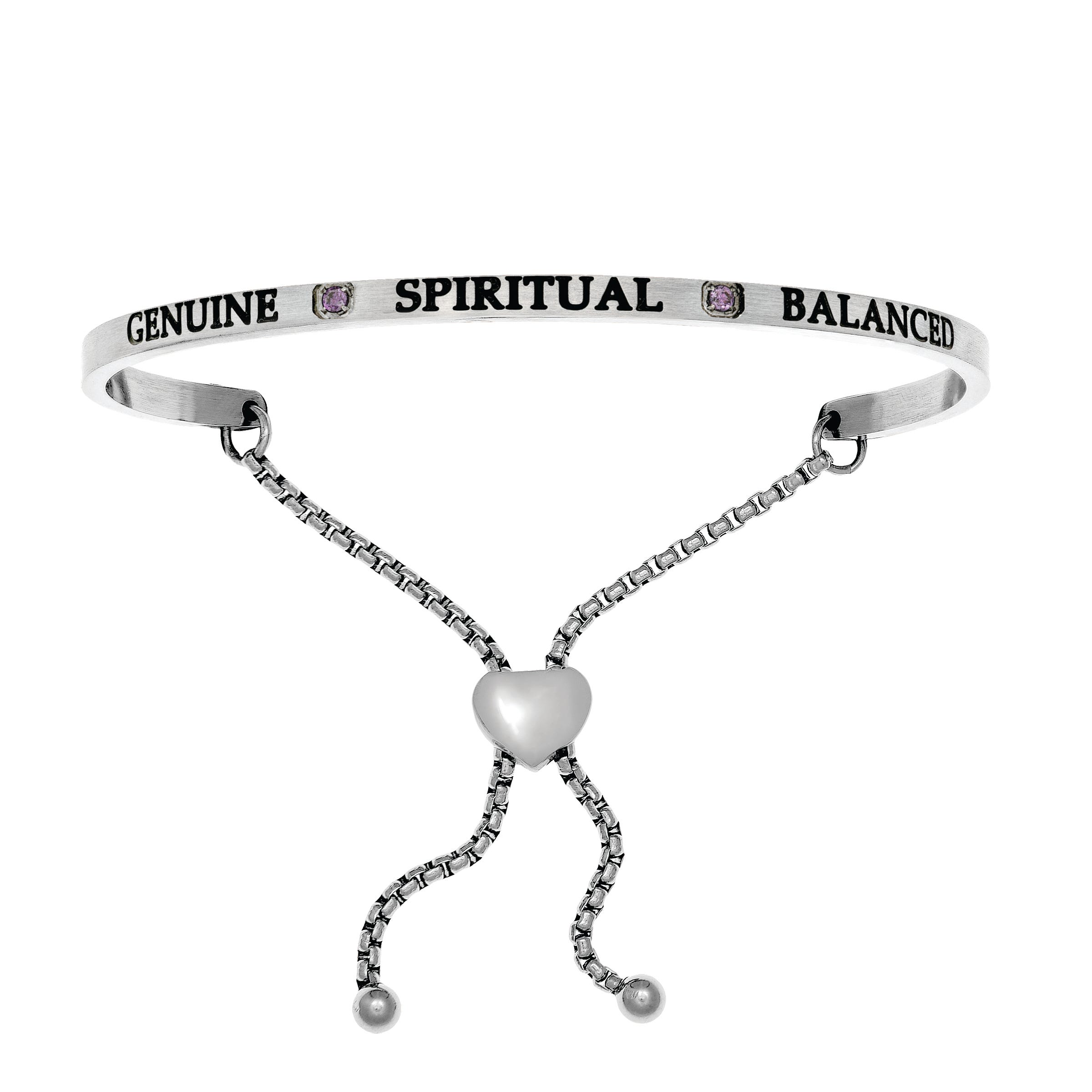 Genuine & Spiritual February. Intuitions Bolo Bracelet in White Stainless Steel