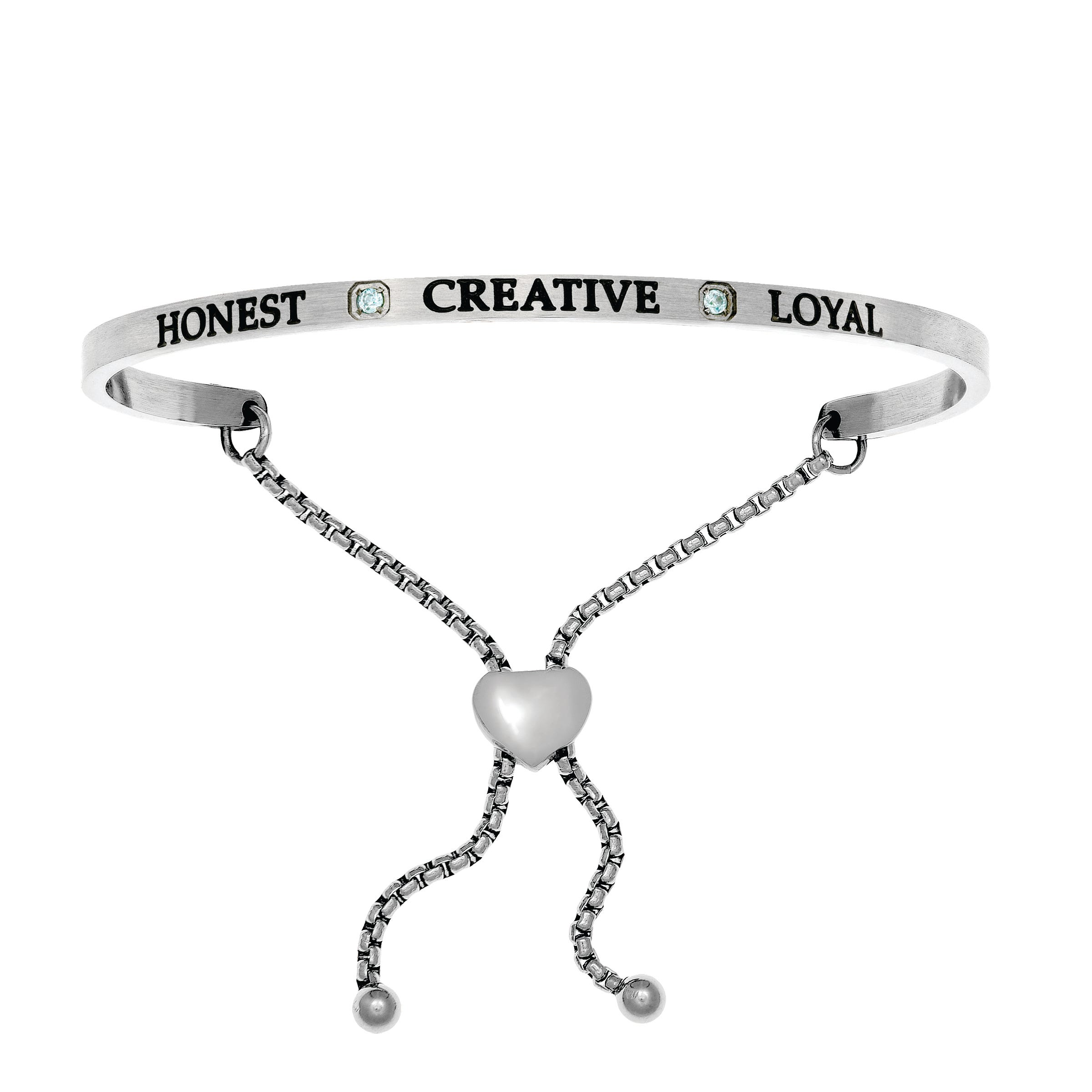 Honest & Creative March. Intuitions Bolo Bracelet in White Stainless Steel