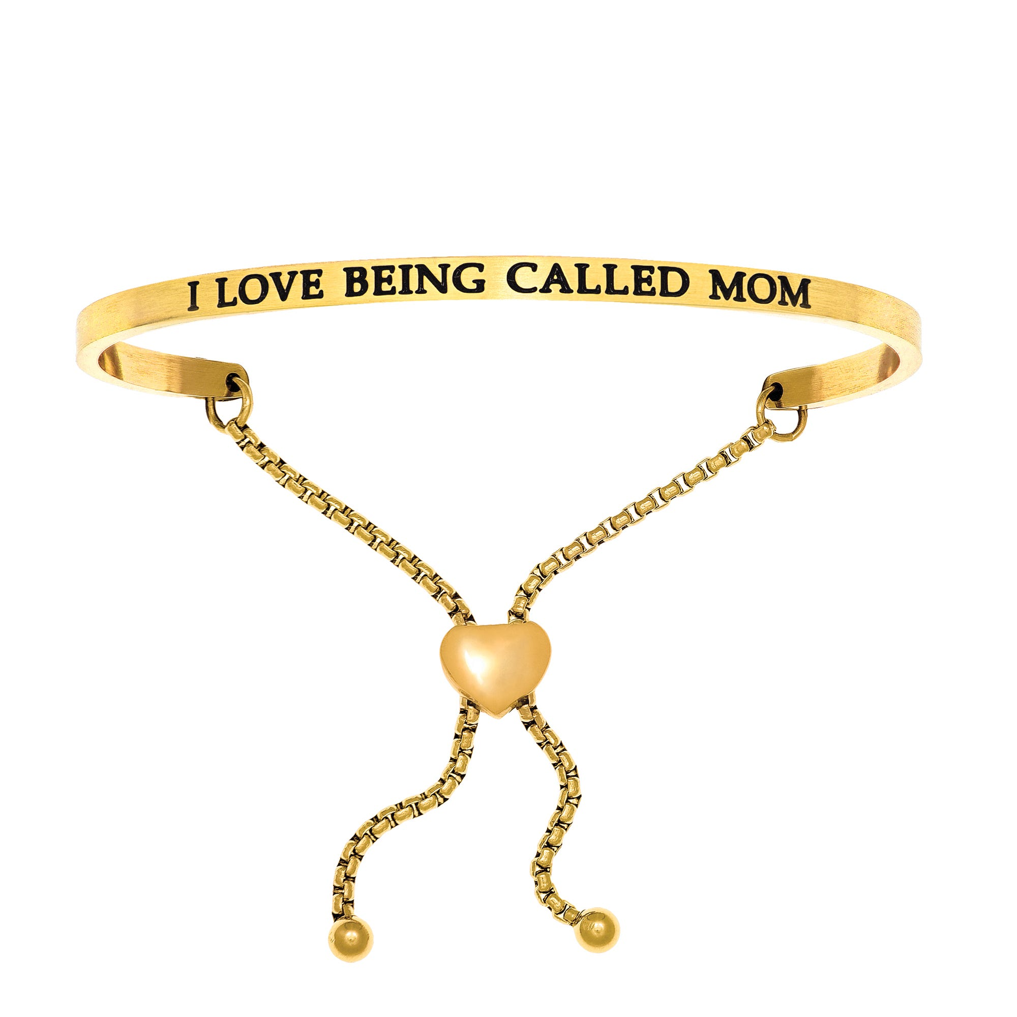 I Love Being Called A Mom. Intuitions Bolo Bracelet in Yellow Stainless Steel