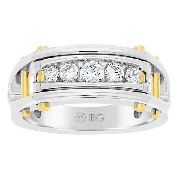 IBGoodman Men's 5-Stone 0.50ctw. Diamond Band in 14k White & Yellow Gold