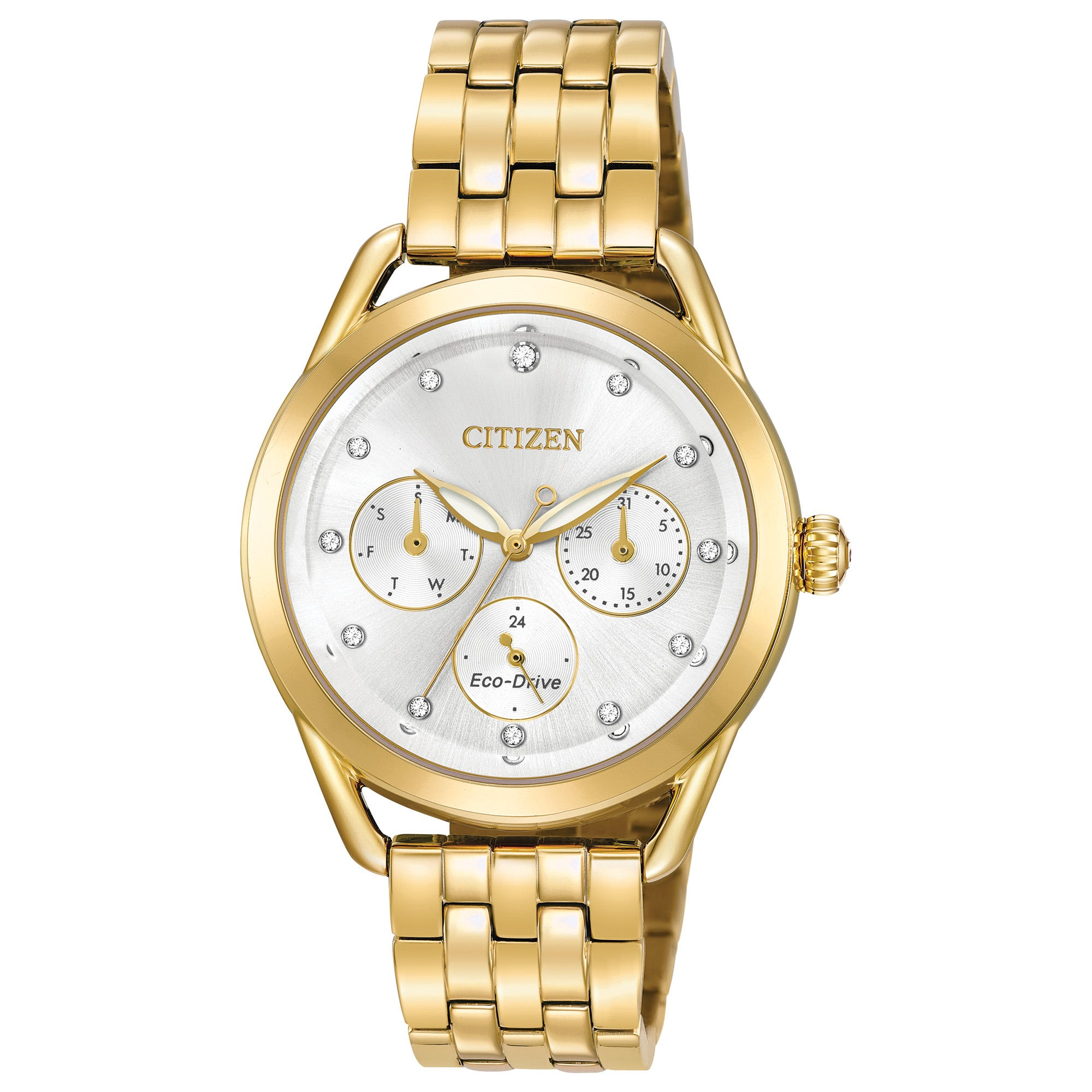Citizen Drive Women's Eco-Drive LTR Gold-Tone White Dial Watch FD2052-58A