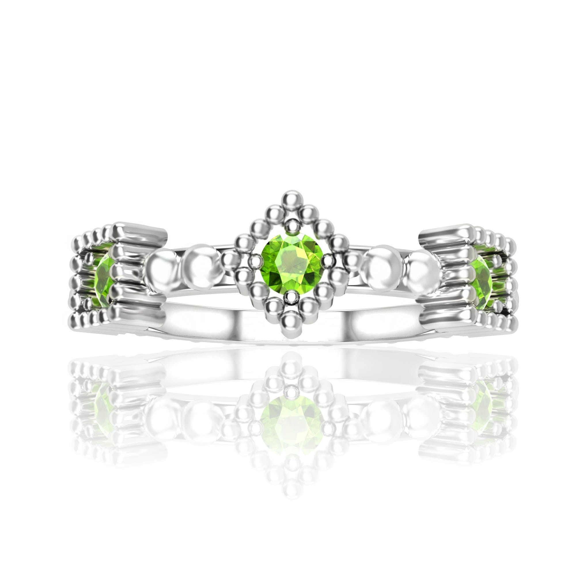 Peridot Gemstone Stackable Ring in Sterling Silver