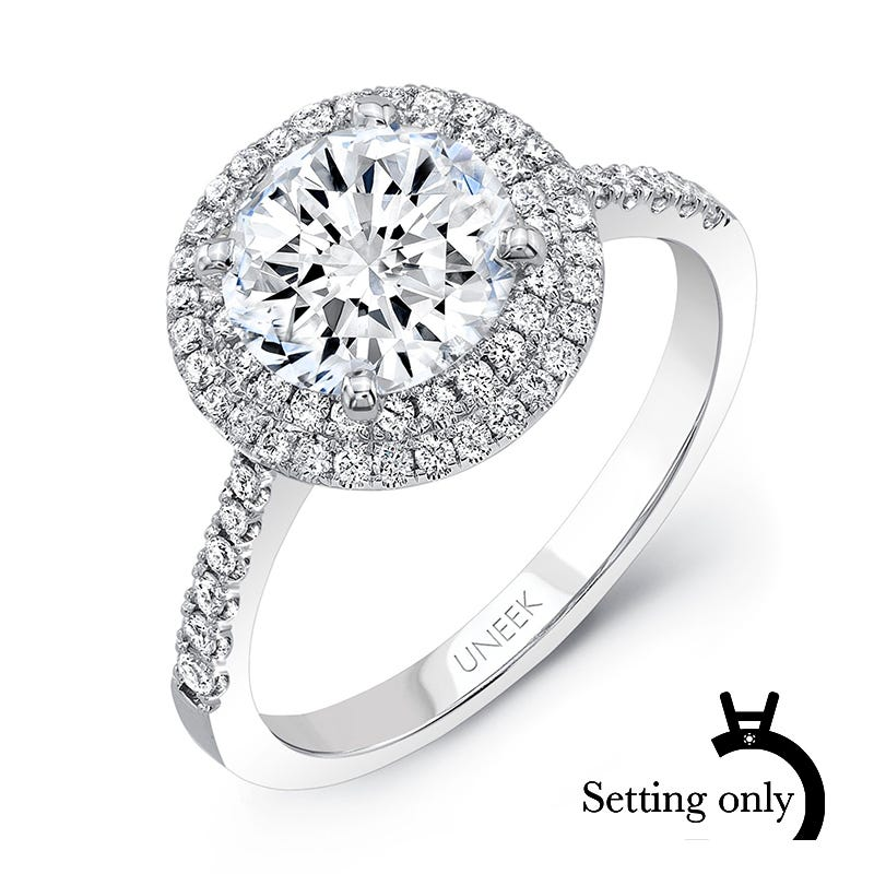 Uneek Diamond 1/3ctw. Round Double Halo Semi-Mount in 14K White Gold SWS212