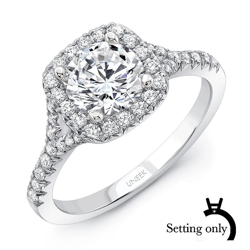 Uneek Diamond 3/8ctw. Round Halo Semi-Mount in 14K White Gold SWS224