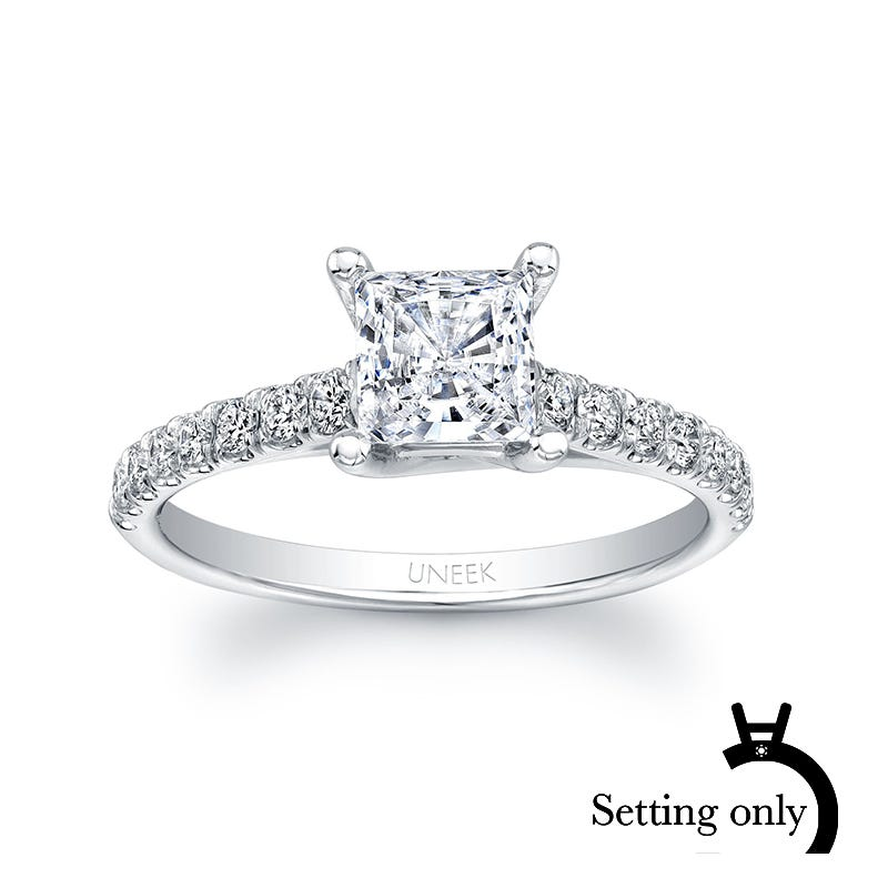 Uneek Unity Princess-Cut Solitaire Semi-Mount with Graduated Melee Diamonds in 14K White Gold