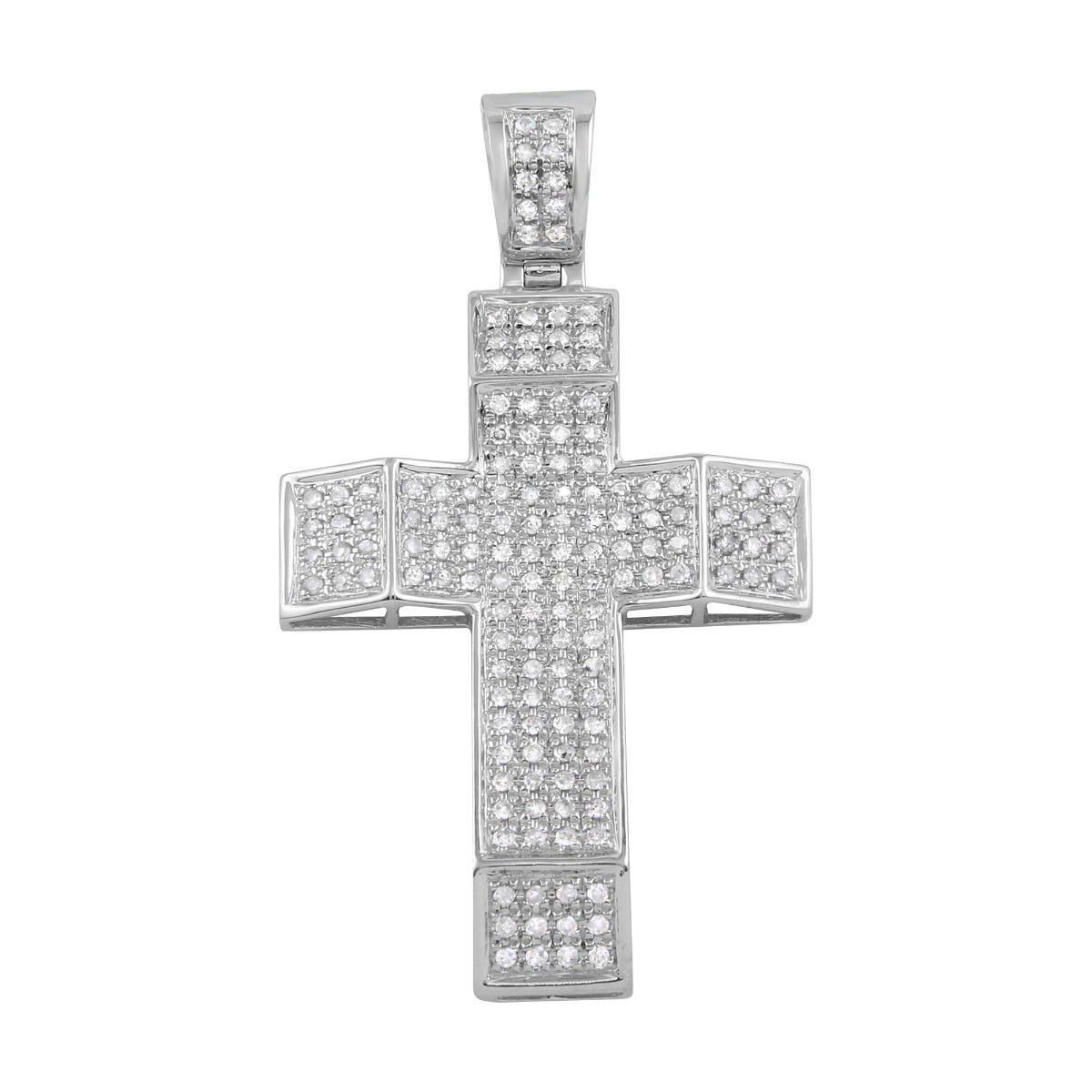 Large 1ctw.Micro Pave Diamond Bling Cross in 10k White Gold