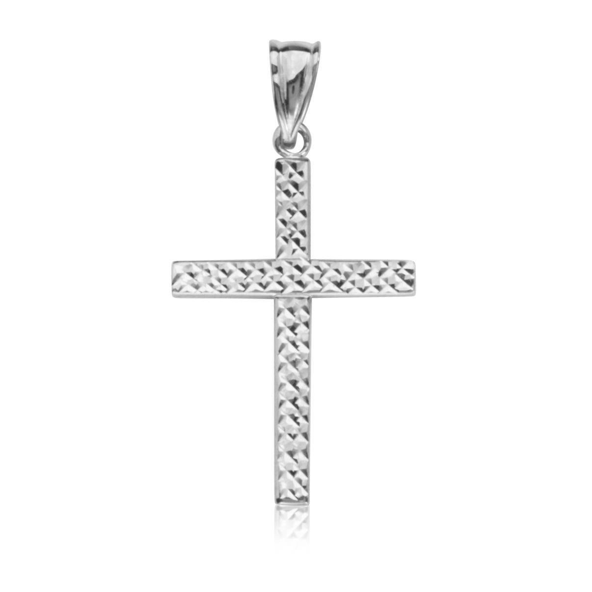 Reversible Cross Pendant in 14k White Gold
