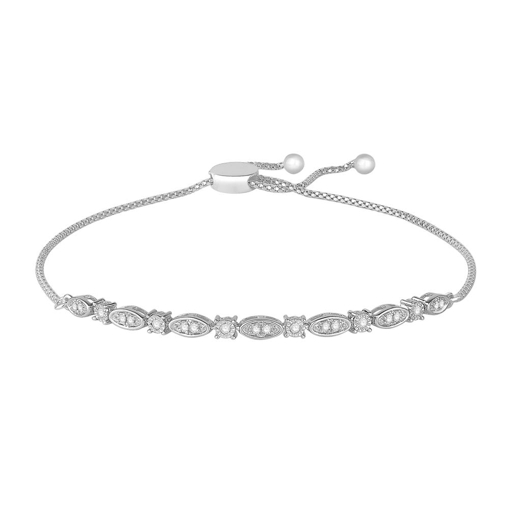 Diamond Fancy Shapes Bolo Bracelet in Sterling Silver