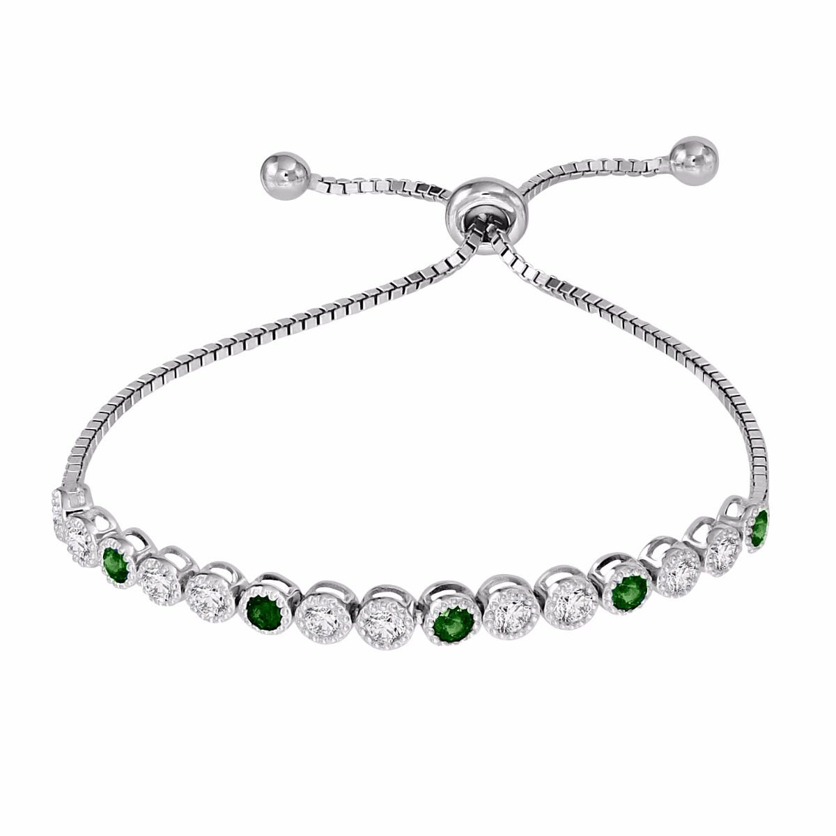 Emerald & White Zircon Bolo Bracelet in Sterling Silver
