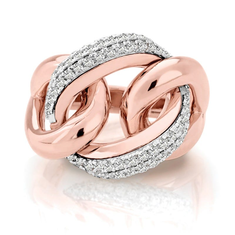 Diamond Triple Loop Link Fashion Ring in 14k Rose Gold