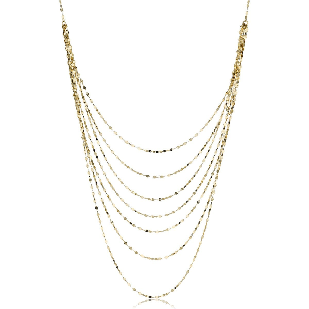 7-Layer Mirror Link Fashion Necklace in 14k Yellow Gold