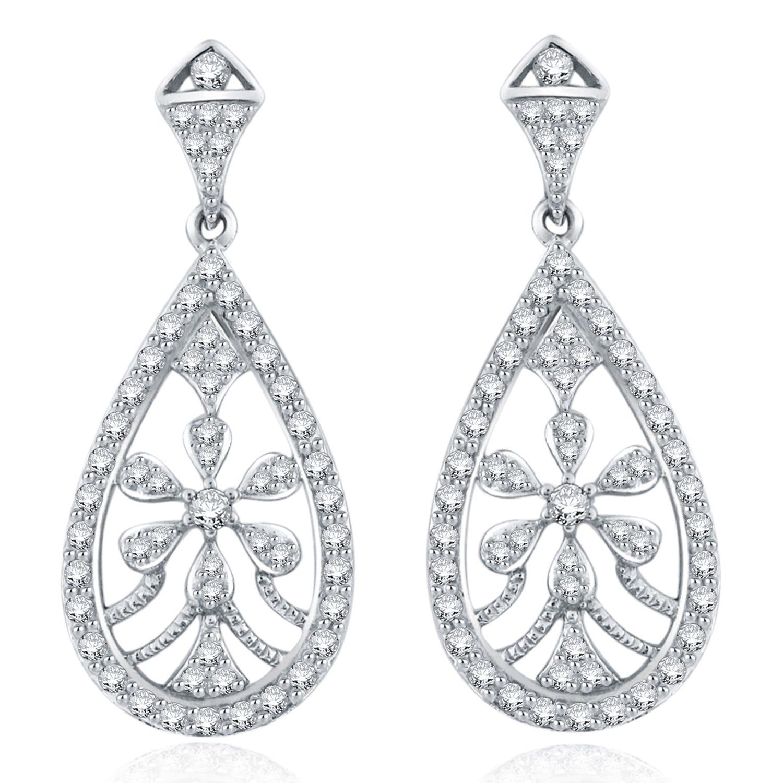 Diamond 1ctw. Flower Chandelier Fashion Earrings in 14k White Gold