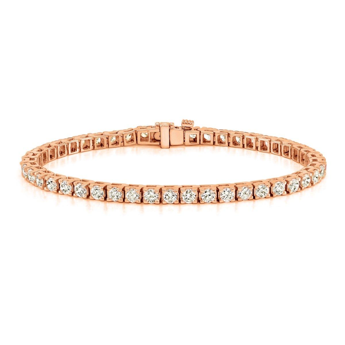 6ctw. 4-Prong Square Link Diamond Tennis Bracelet in 14K Rose Gold  (IJ, I1-I2)