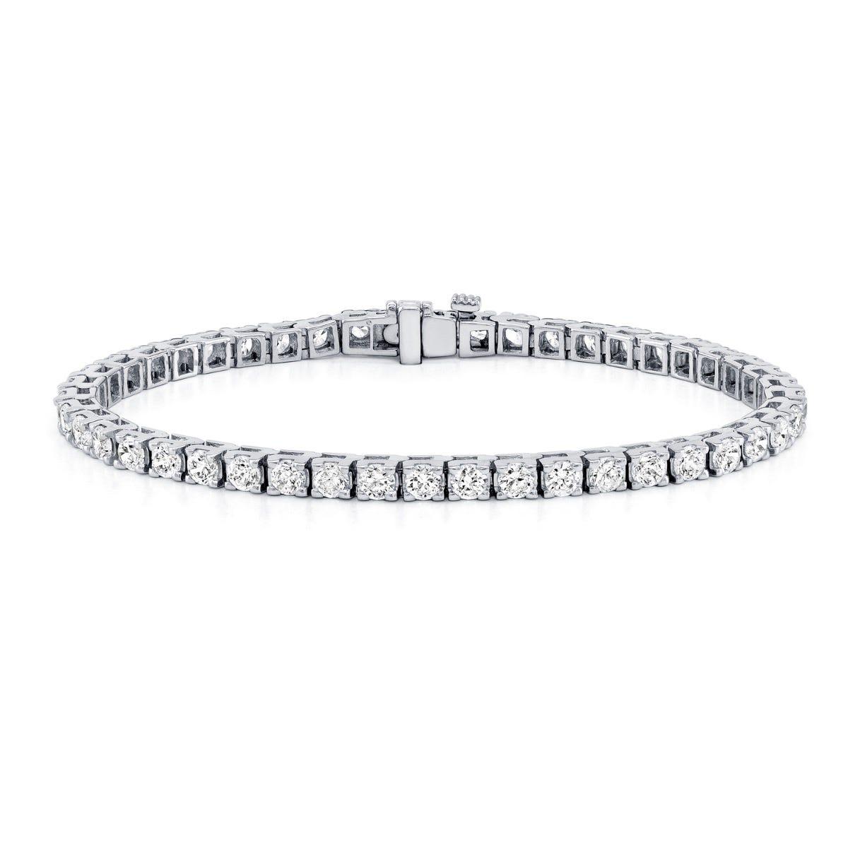 6ctw. 4-Prong Square Link Diamond Tennis Bracelet in 14K White Gold (HI, VS1-VS2)