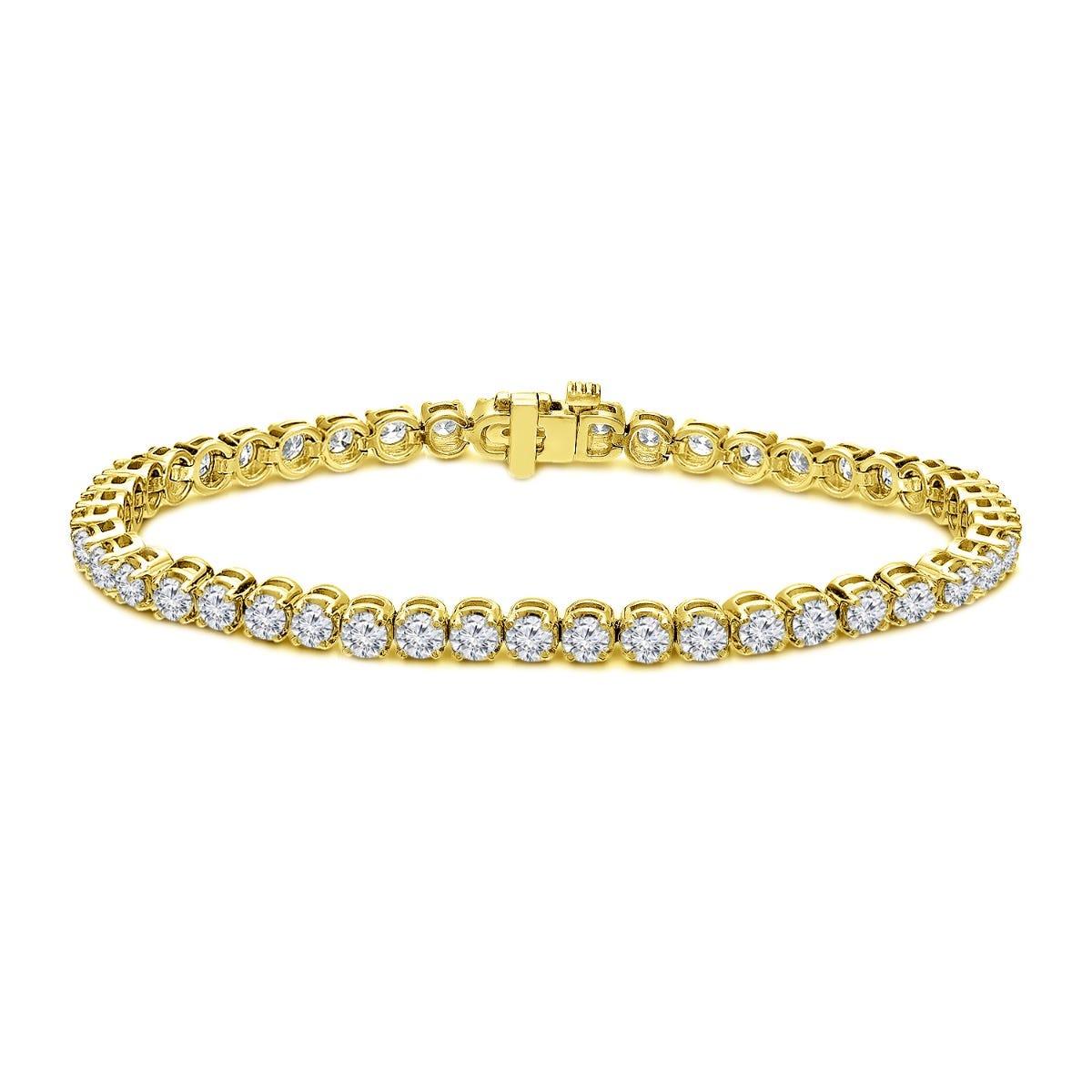 6ctw. 4-Prong Round Link Diamond Tennis Bracelet in 14K Yellow Gold  (IJ, I1-I2)