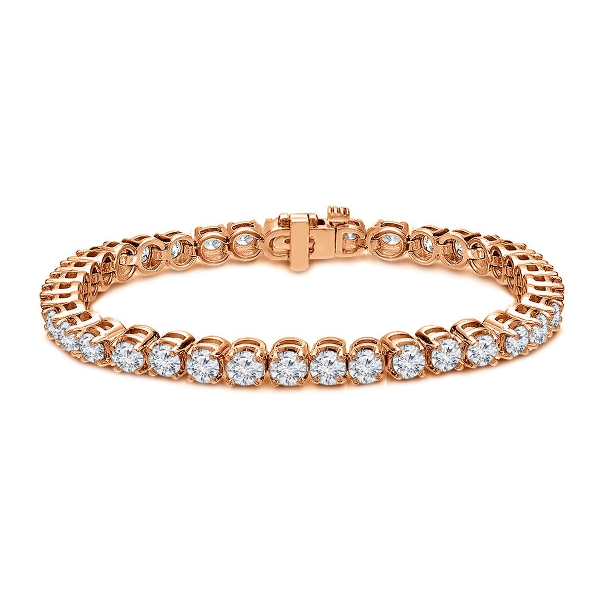 8ctw. 4-Prong Round Link Diamond Tennis Bracelet in 14K Rose Gold (HI, SI1-SI2)