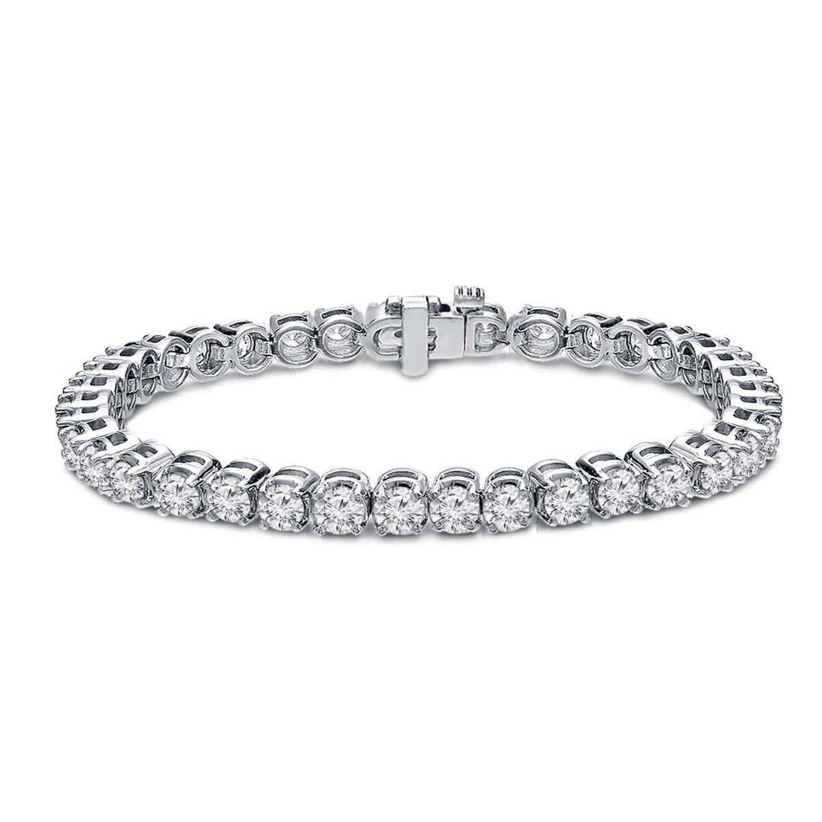 8ctw. 4-Prong Round Link Diamond Tennis Bracelet in 14K White Gold (JK, I2-I3)