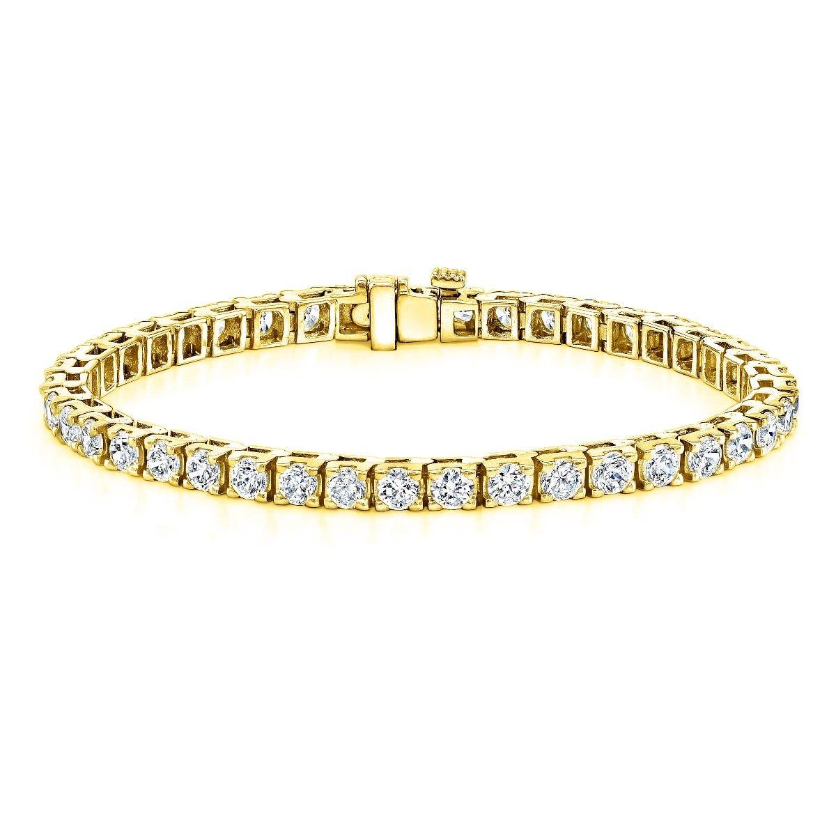 9ctw. 4-Prong Square Link Diamond Tennis Bracelet in 14K Yellow Gold (JK, I2-I3)
