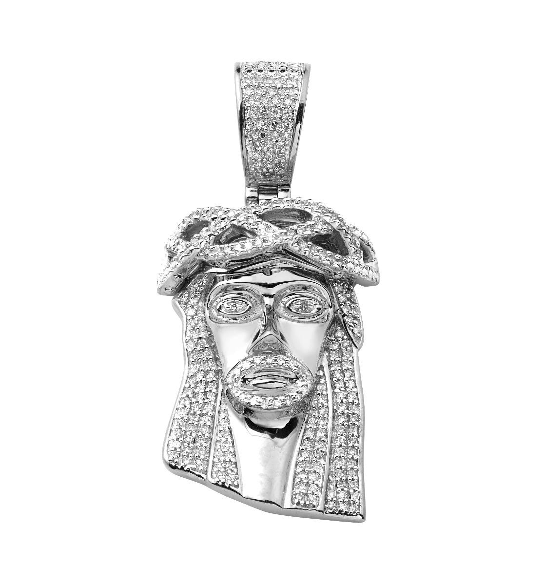 Diamond 1/2ctw. Jesus Silhouette Face Piece Pendant in 10k White Gold