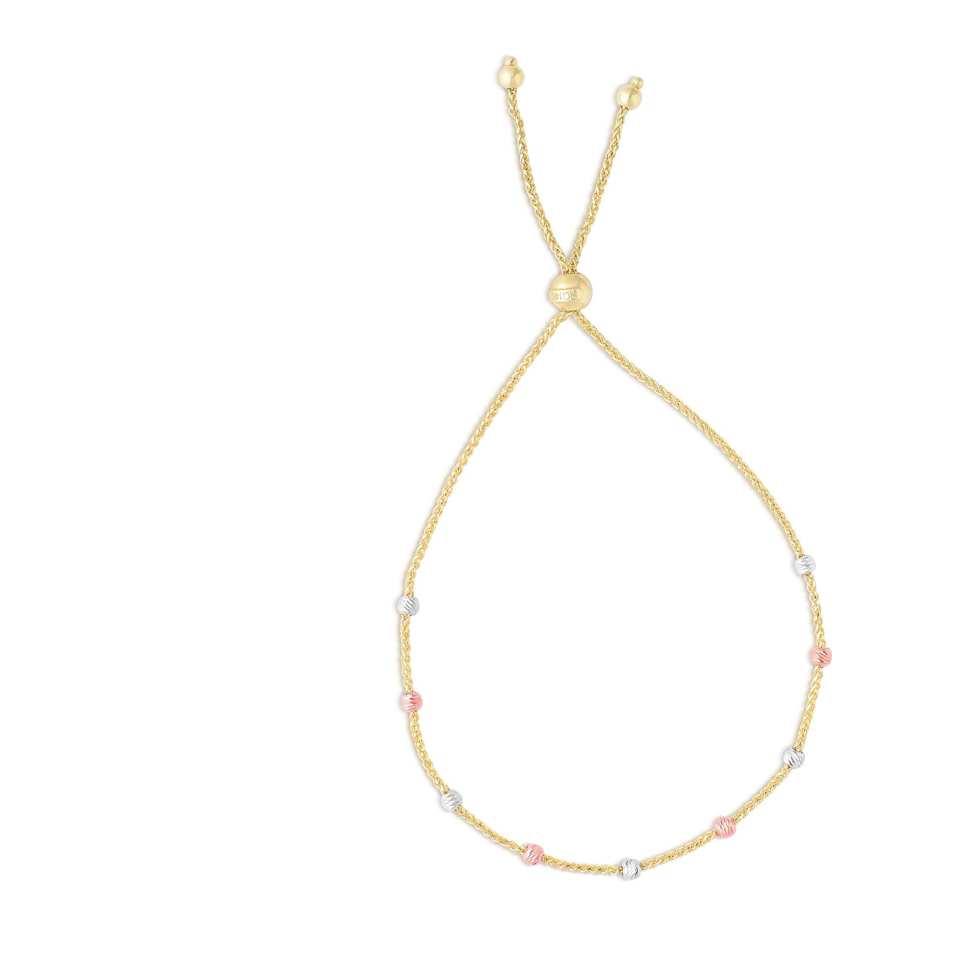 Tri-Color Bead Friendship Bolo Bracelet in 14k Gold