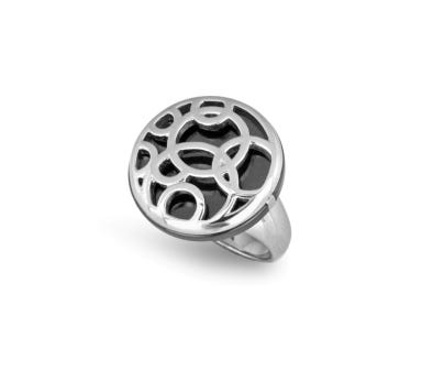 Ladies Intertwined Circles & Black Ceramic Ring in Stainless Steel