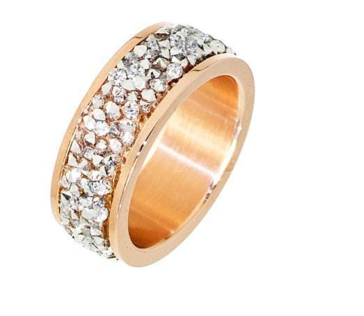 Ladies Crushed Crystal Cluster Ring in Rose Plated Stainless Steel