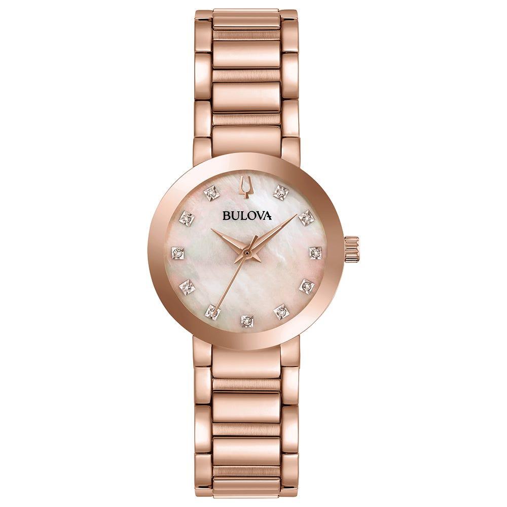 Bulova Ladies Modern Diamond-Accent Bracelet Watch 97P132