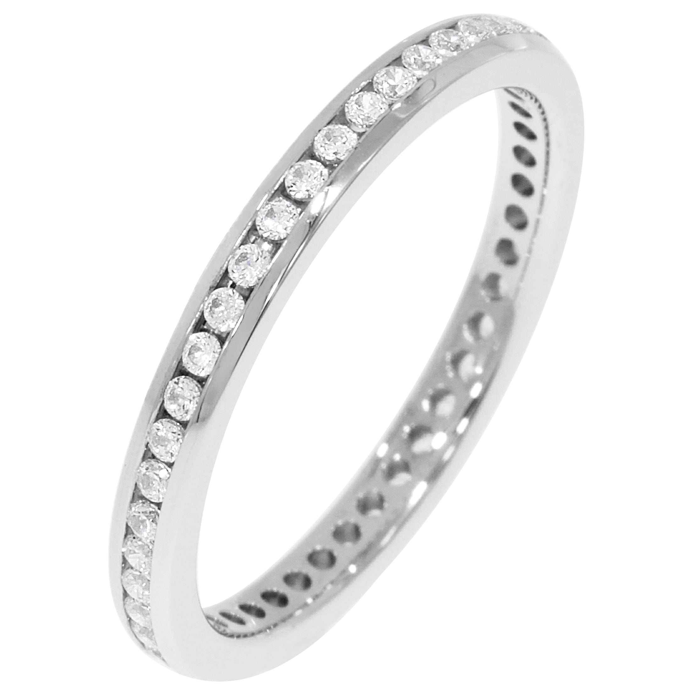 Round Channel Set 1/3ctw. Eternity Band in 14K White Gold (HI, I1)